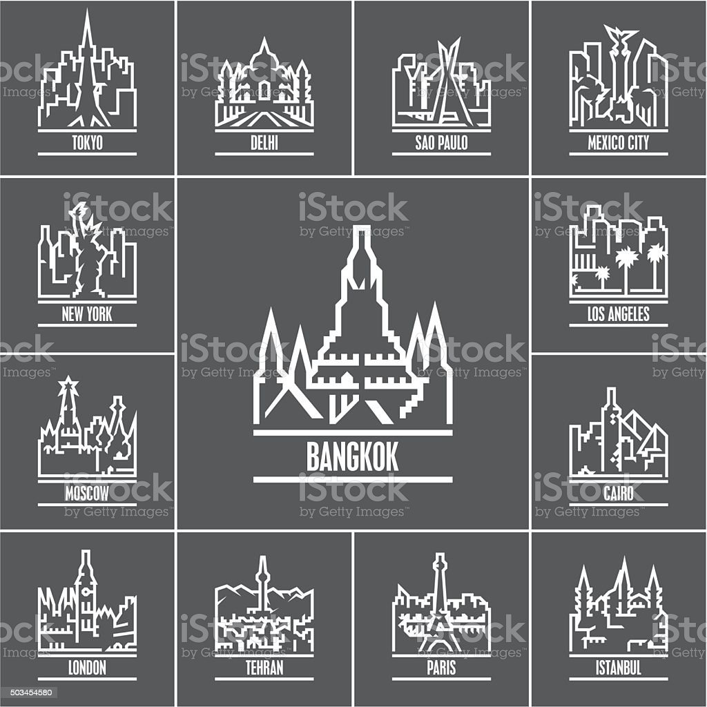 linear cities of the world icons vector art illustration