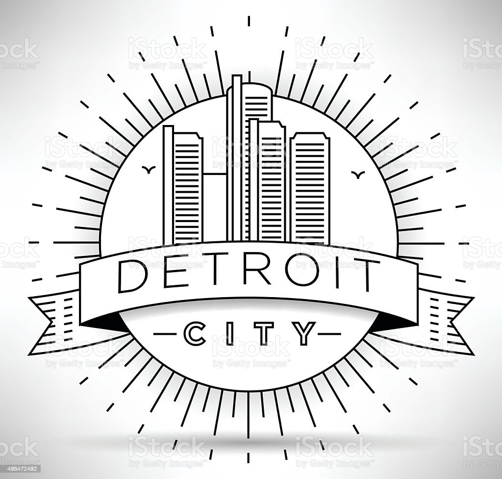 Linear Detroit City Silhouette with Typographic Design vector art illustration