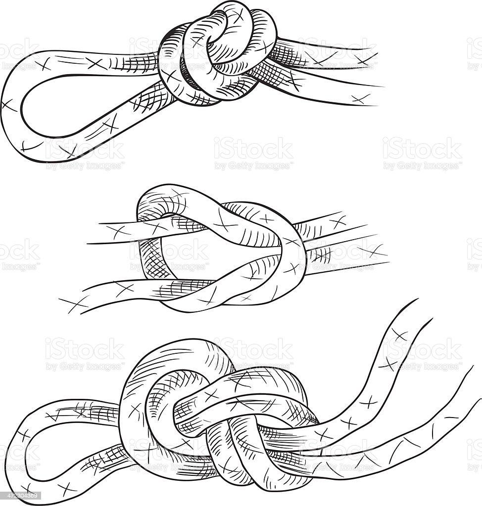 Linear drawing knots vector art illustration
