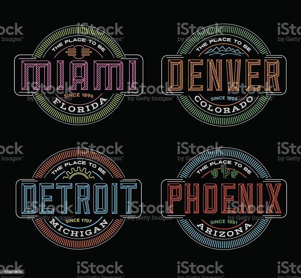 Linear emblems for US cities. Miami, Denver, Detroit, Phoenix vector art illustration