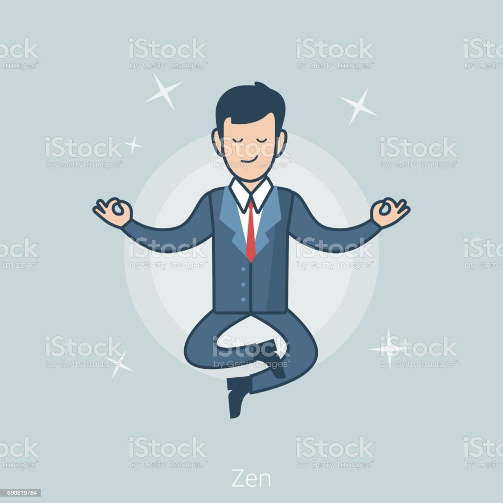 Linear Flat Businessman levitate in Zen pose vector illustration. Business concept. vector art illustration