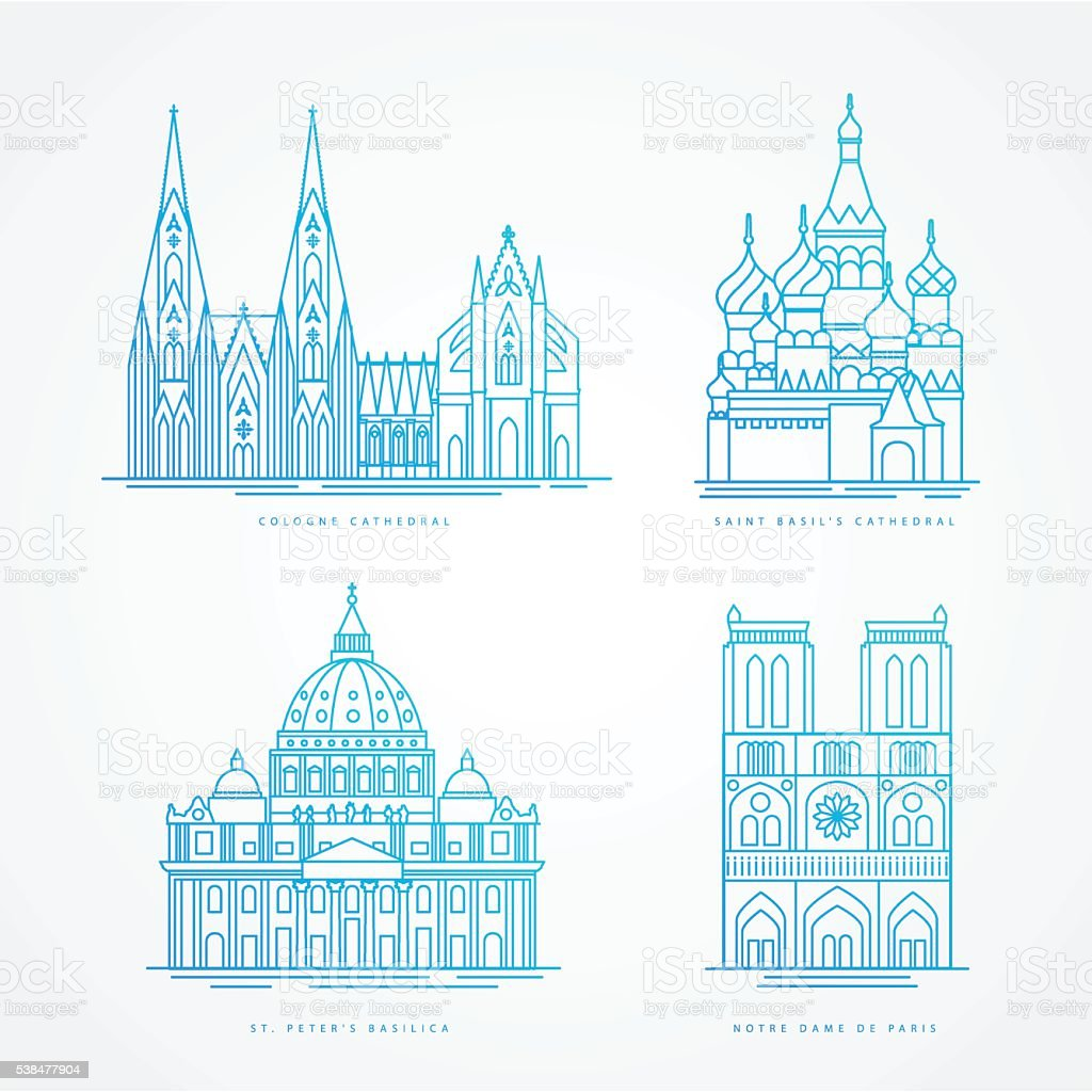 Linear icion set. World famous cathedral. Landmarks of europe vector art illustration