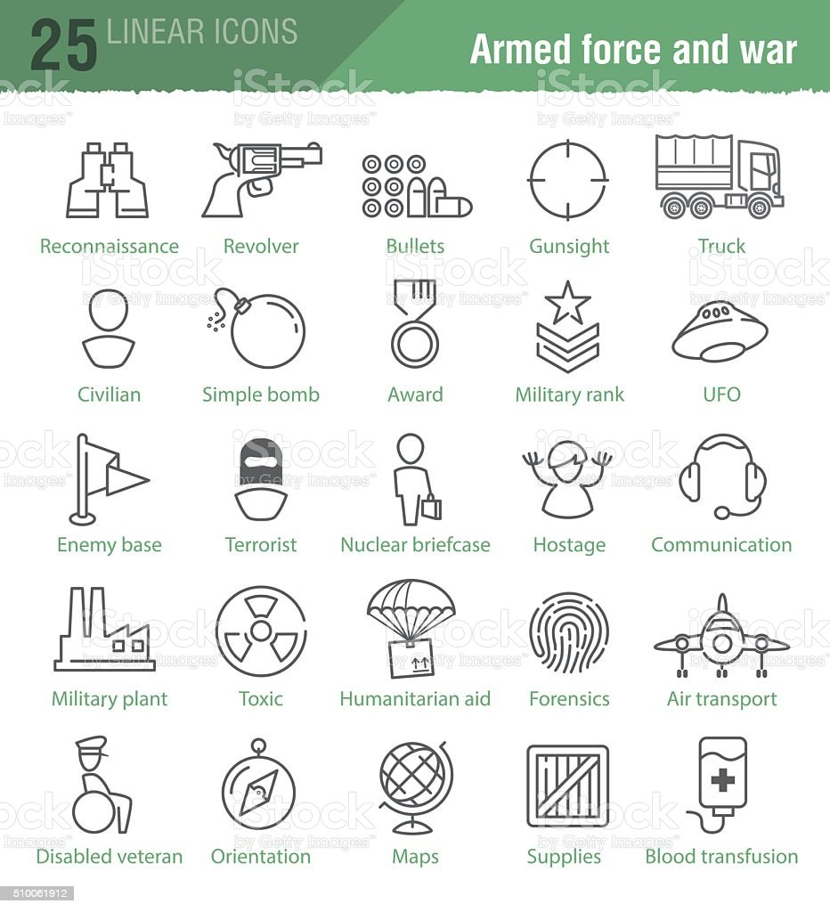 linear icons for military infographics vector art illustration