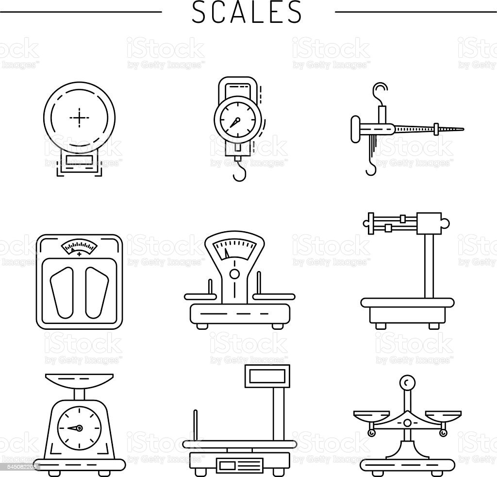 Linear icons of scales vector art illustration