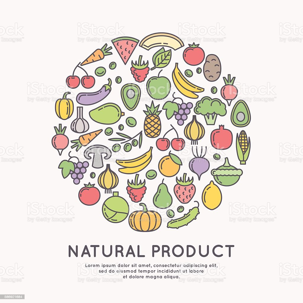 Linear icons of vegetables and fruits. vector art illustration