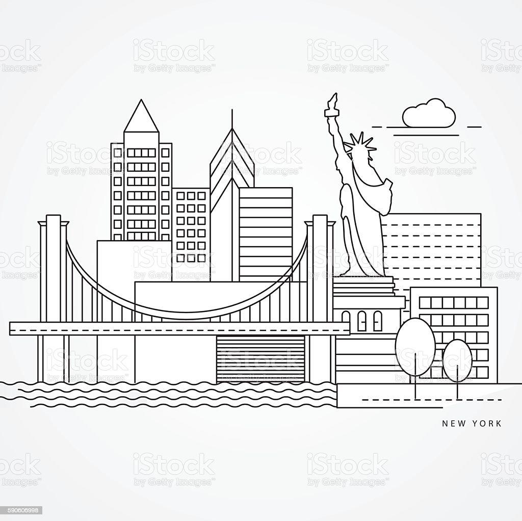 Linear illustration of New York, USA vector art illustration