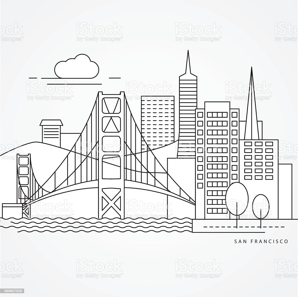 Linear illustration of San Francisco, USA. vector art illustration