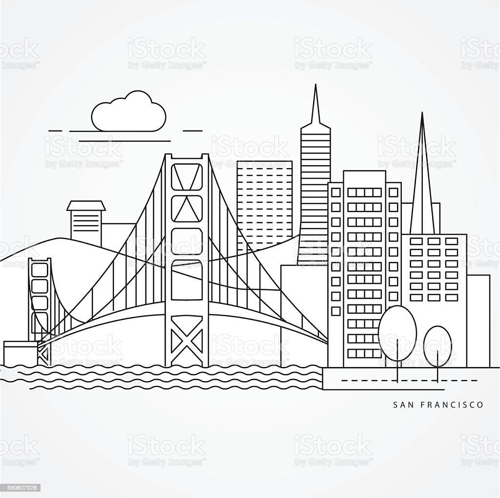 Linear illustration of San Francisco, USA. vector art illustration