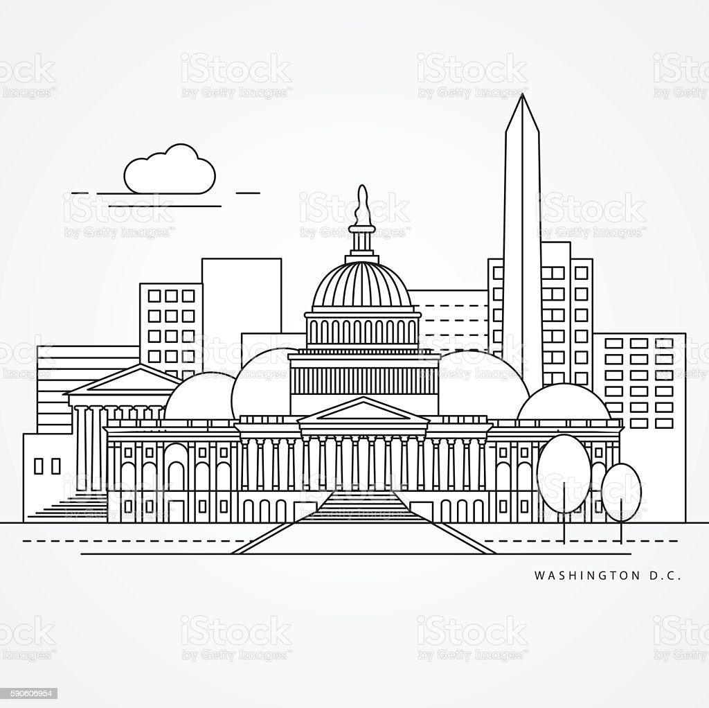 Linear illustration of Washington DC, USA vector art illustration