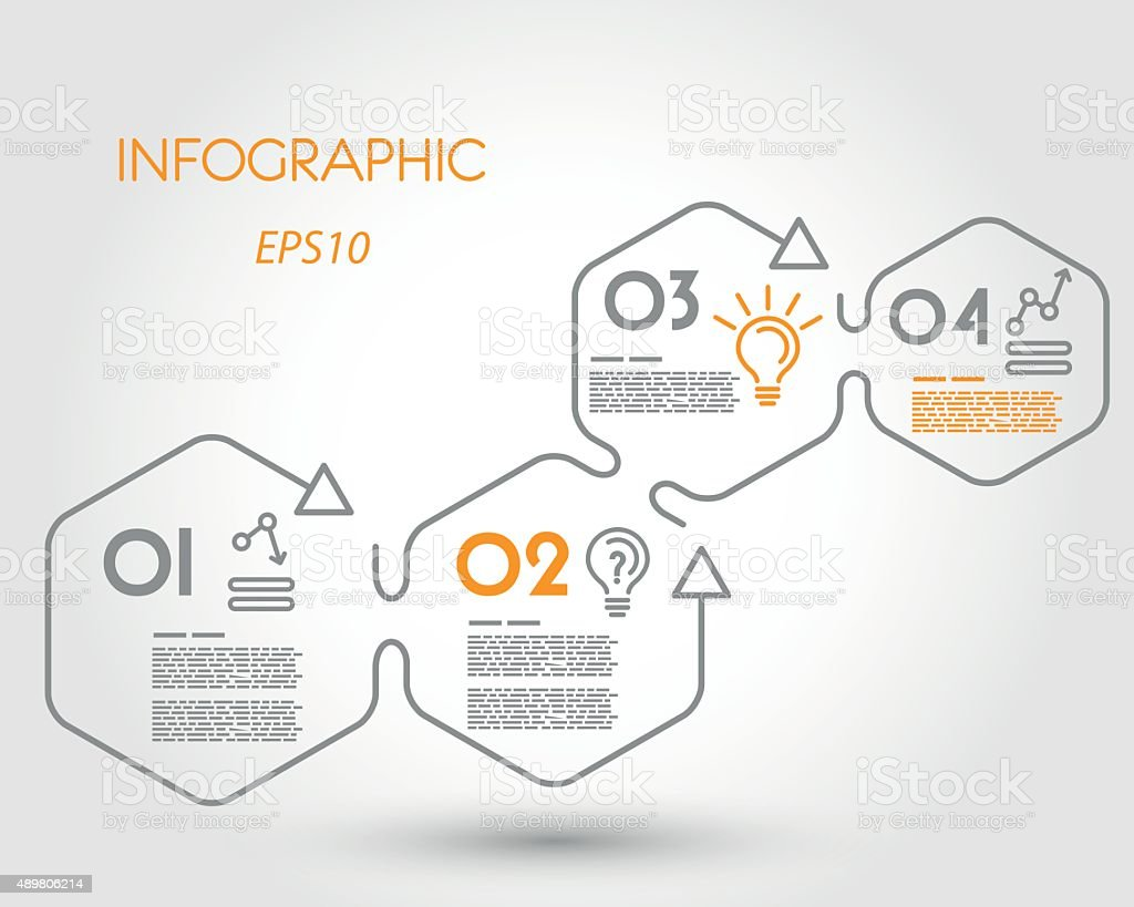 linear infographic hexagons with arrows vector art illustration