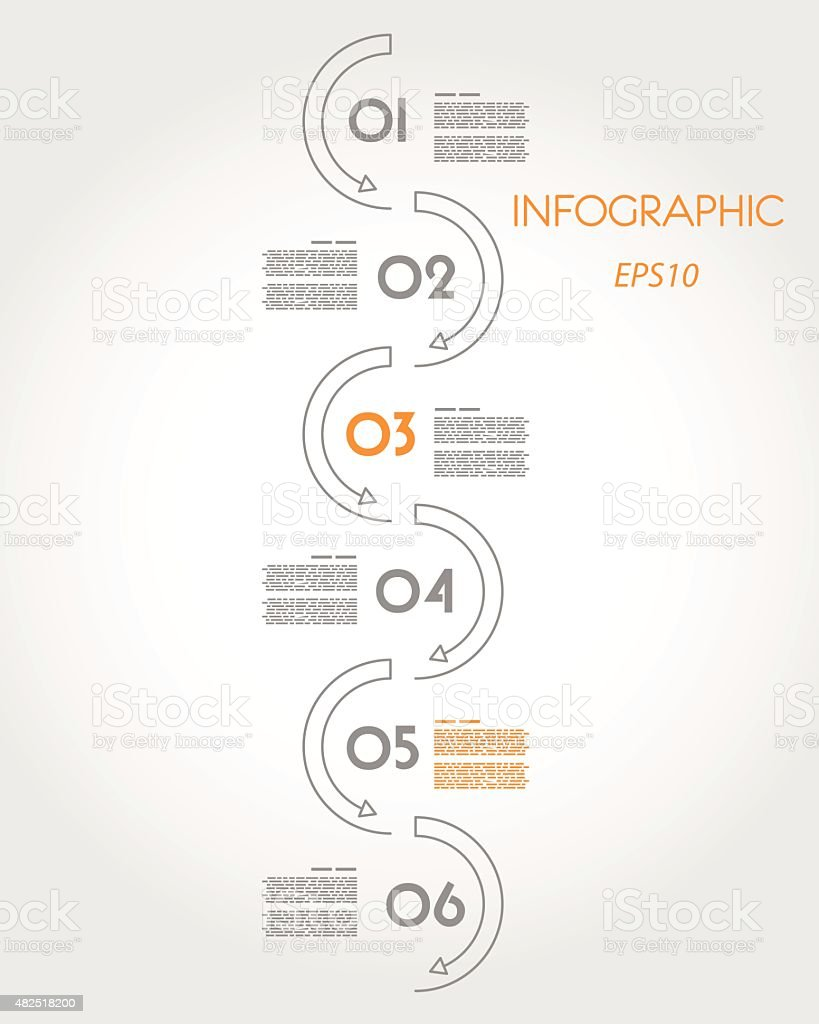 linear infographic vertical wave vector art illustration