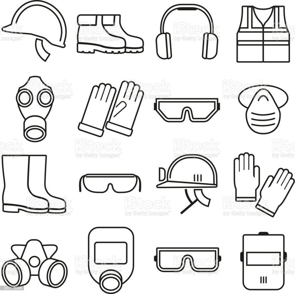 Linear job safety equipment vector icons set vector art illustration