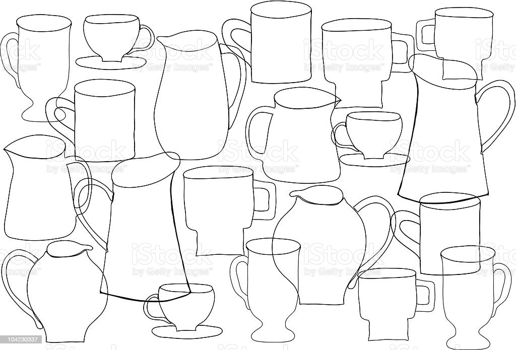 Linear jugs and mugs pattern royalty-free stock vector art