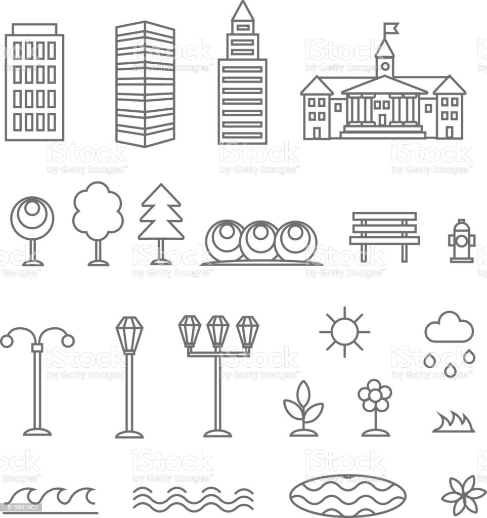 Linear landscape elements vector icons set. Line buildings, trees. vector art illustration