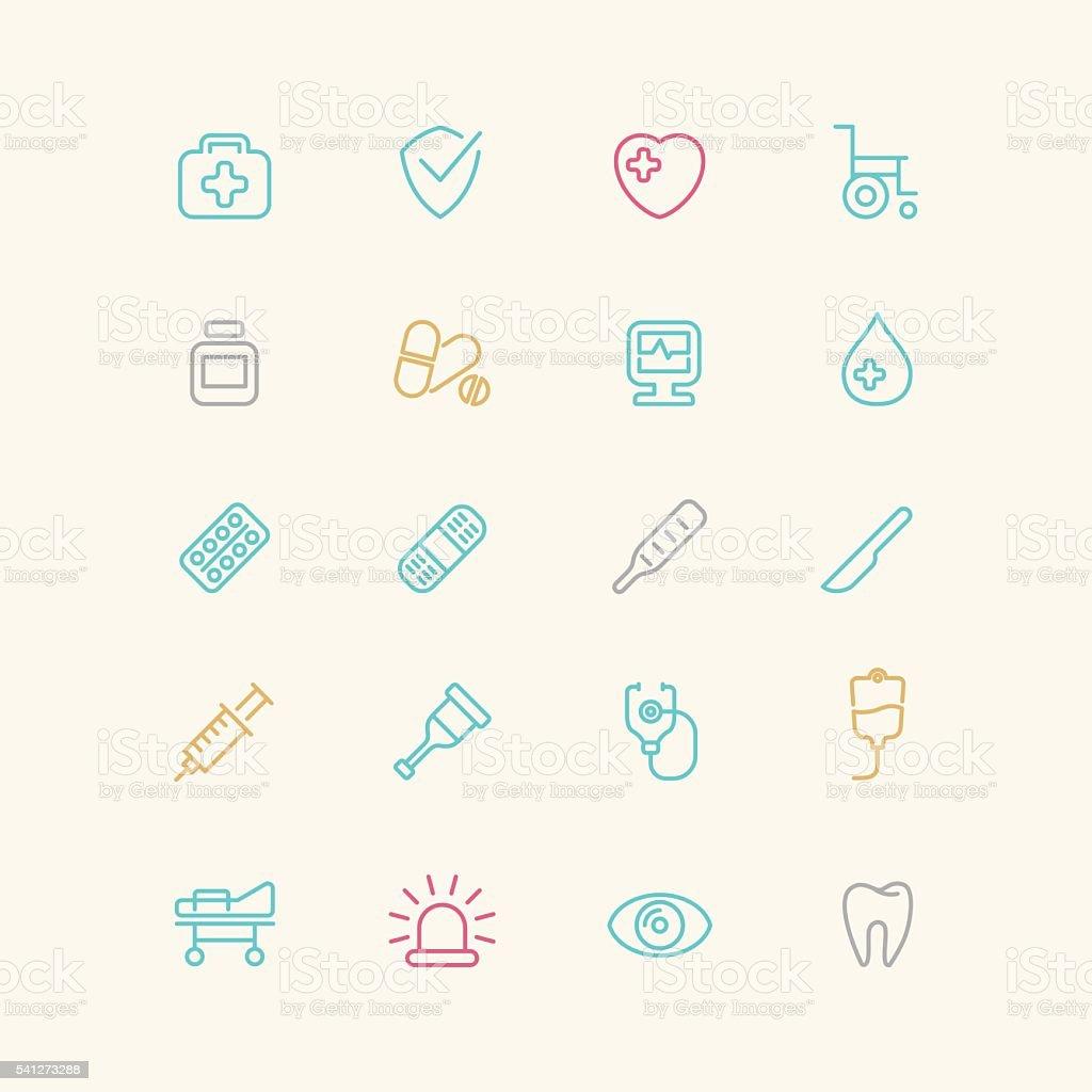 Linear medical icons. vector art illustration