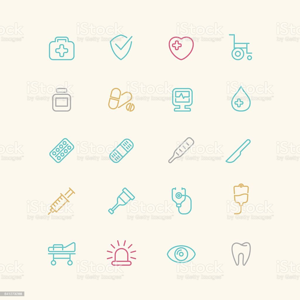Linear medical icons. vector art illustration
