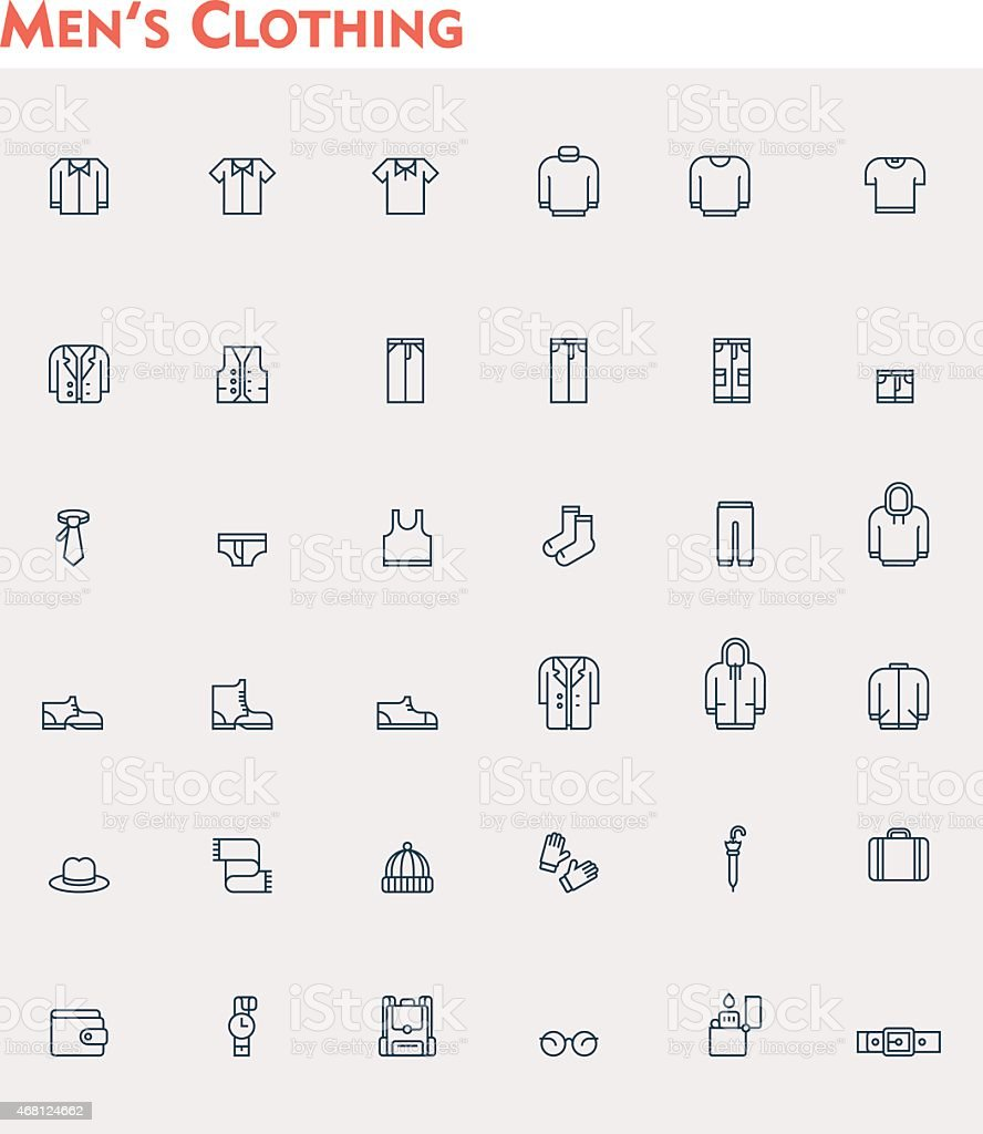 Linear men clothes icon set vector art illustration