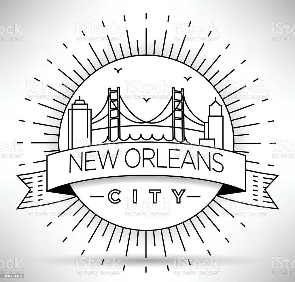 Linear New Orleans City Silhouette with Typographic Design vector art illustration