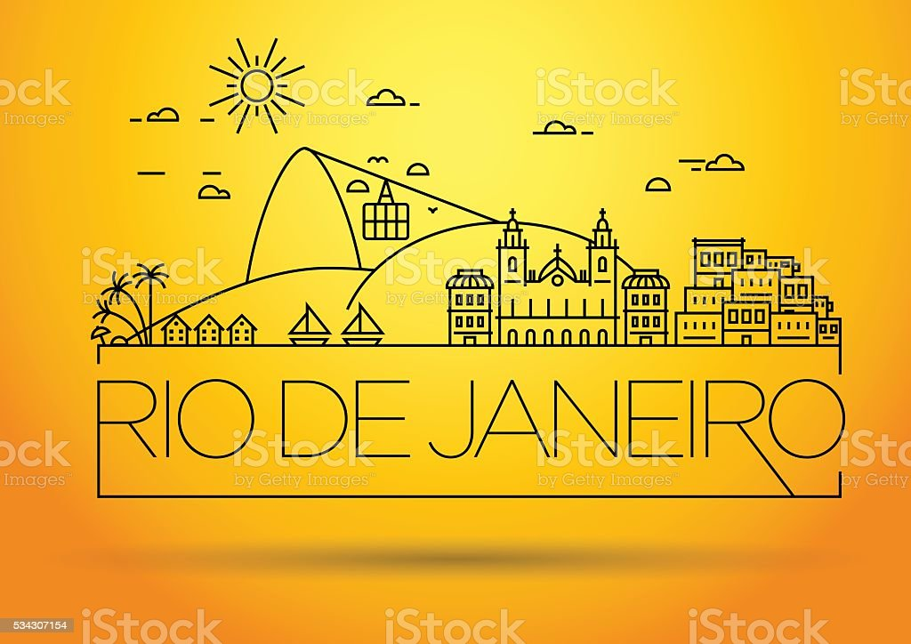 Linear Rio de Janeiro City, Brazil Silhouette with Typography vector art illustration