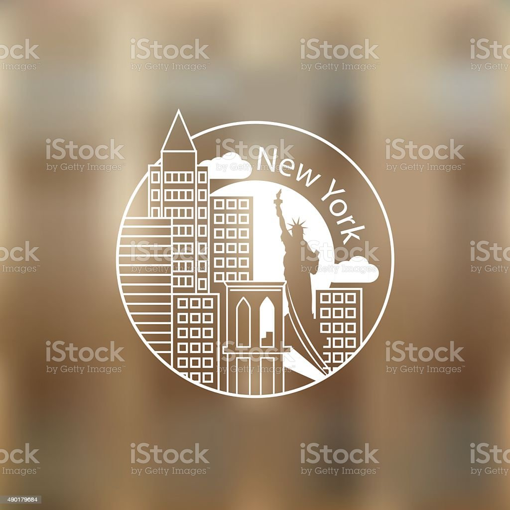 Linear round icon of New York, USA vector art illustration