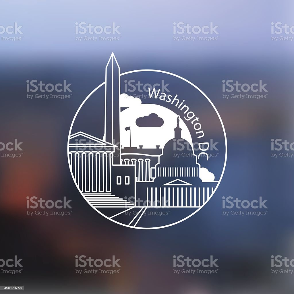 Linear round icon of Washington DC, USA vector art illustration