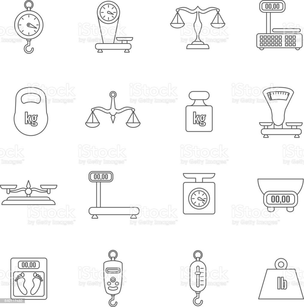 Linear scales and weight vector icons set vector art illustration