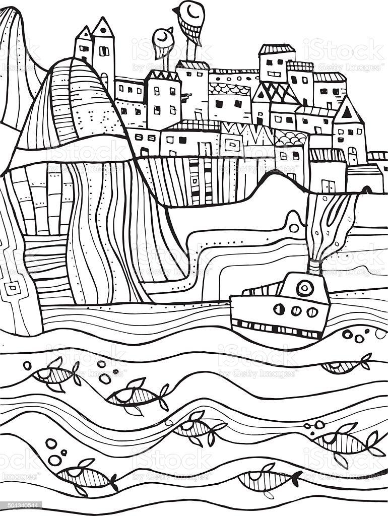 Linear Sea Town vector art illustration