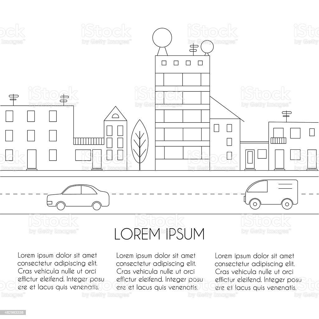 Linear sketch of a city vector art illustration