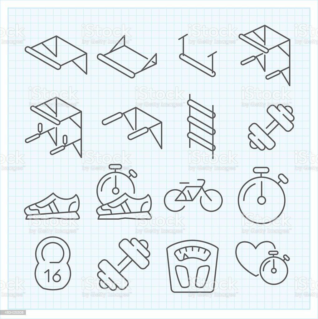 Linear sport icons vector art illustration
