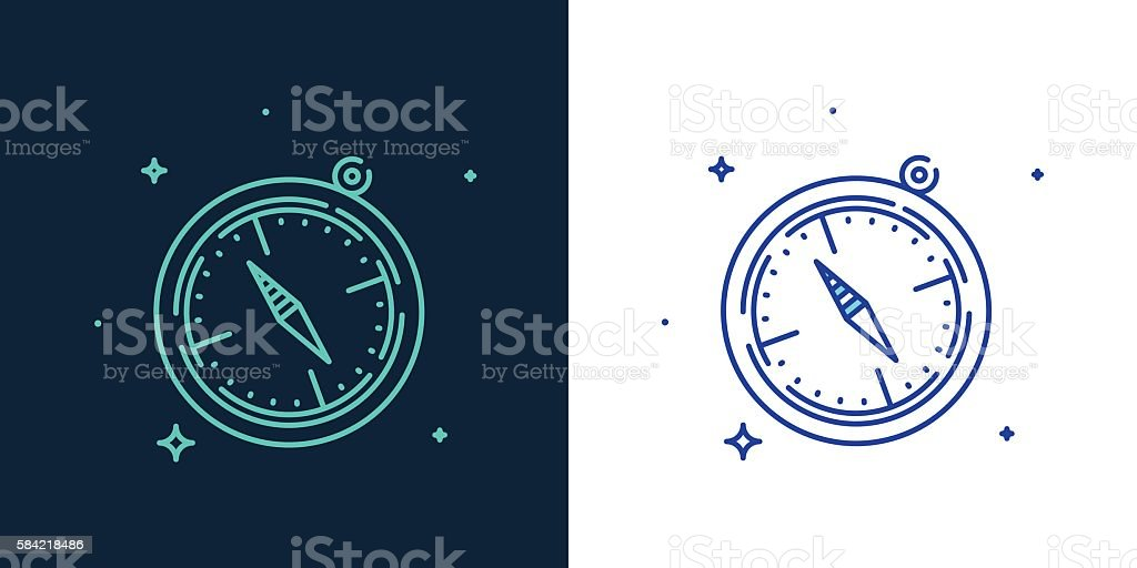 Linear style icon of a helm vector vector art illustration