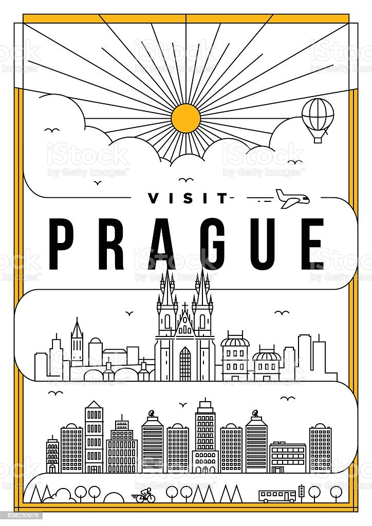 Linear Travel Prague Poster Design vector art illustration