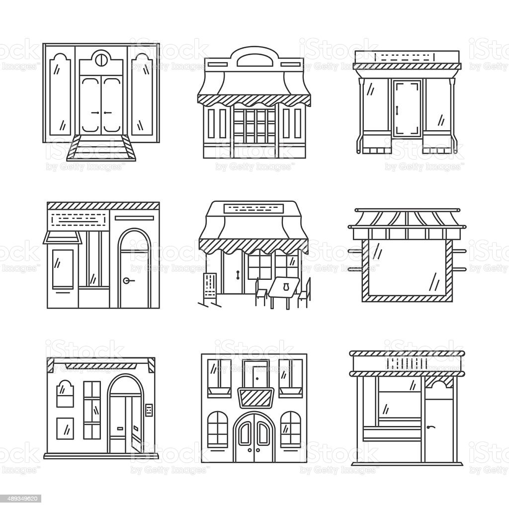 Linear vector icons for storefronts vector art illustration