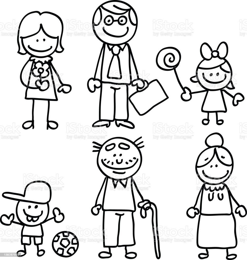 Lineart big family cartoon vector art illustration