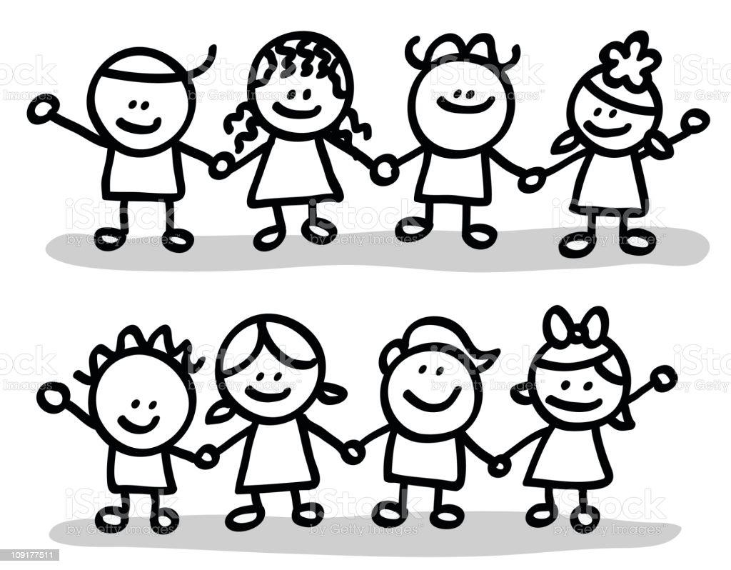 lineart children group vector art illustration