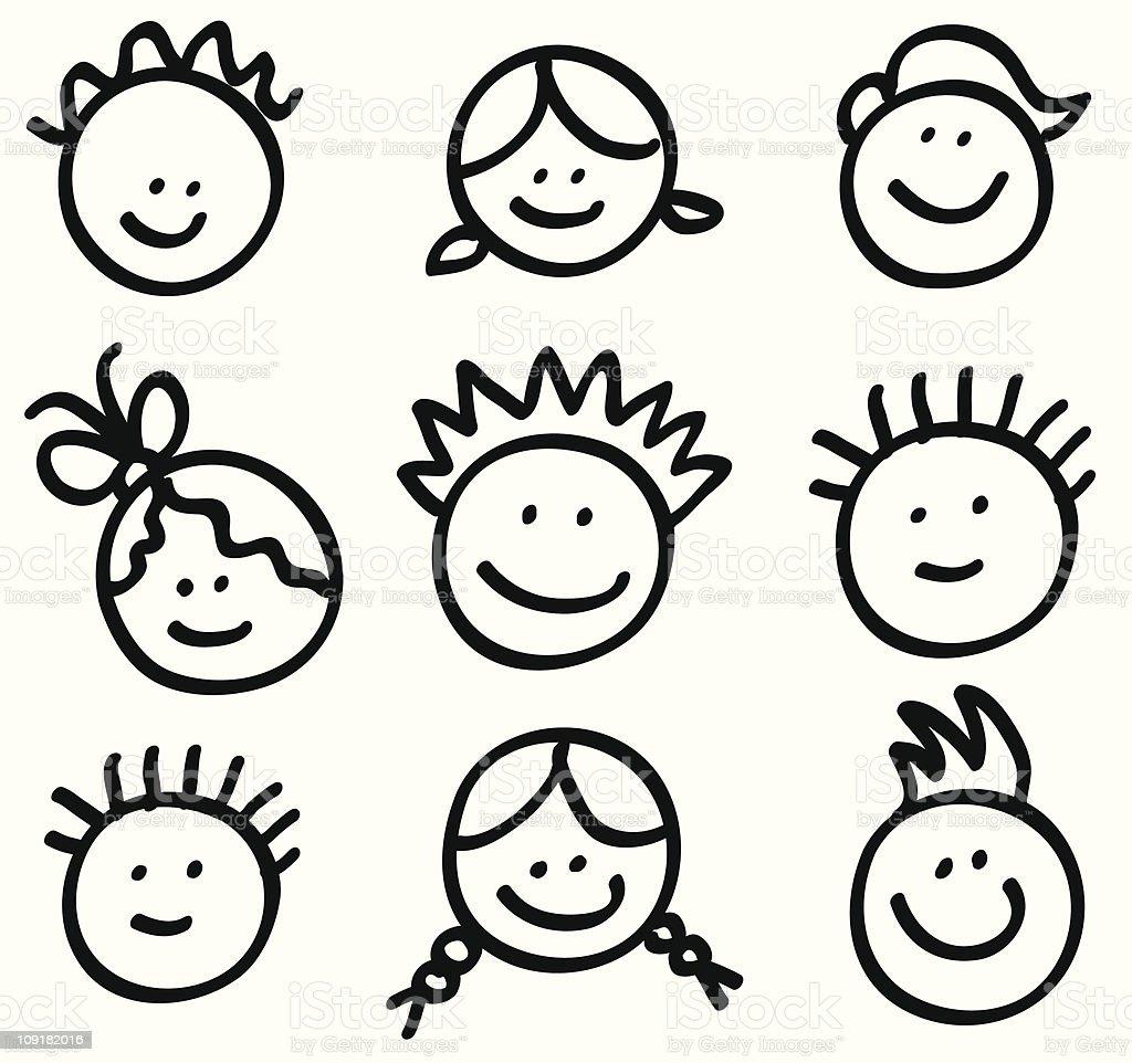 lineart children head cartoons vector art illustration