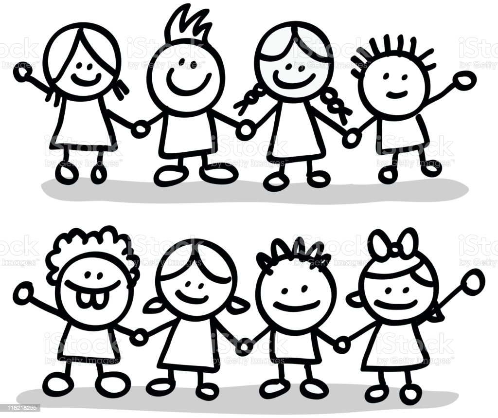 lineart happy children friends group holding hands cartoon illustration royalty-free stock vector art