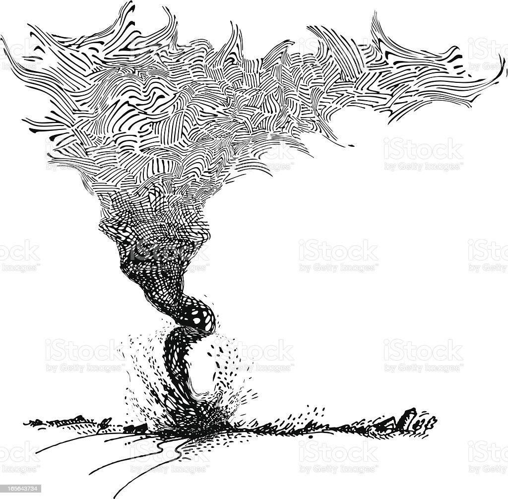 Lineart of Tornado Cutting Through Farmland royalty-free stock vector art