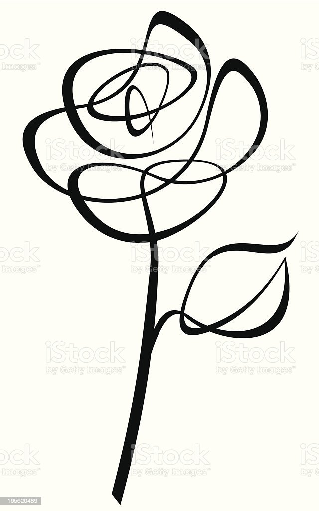 Lineart Rose vector art illustration