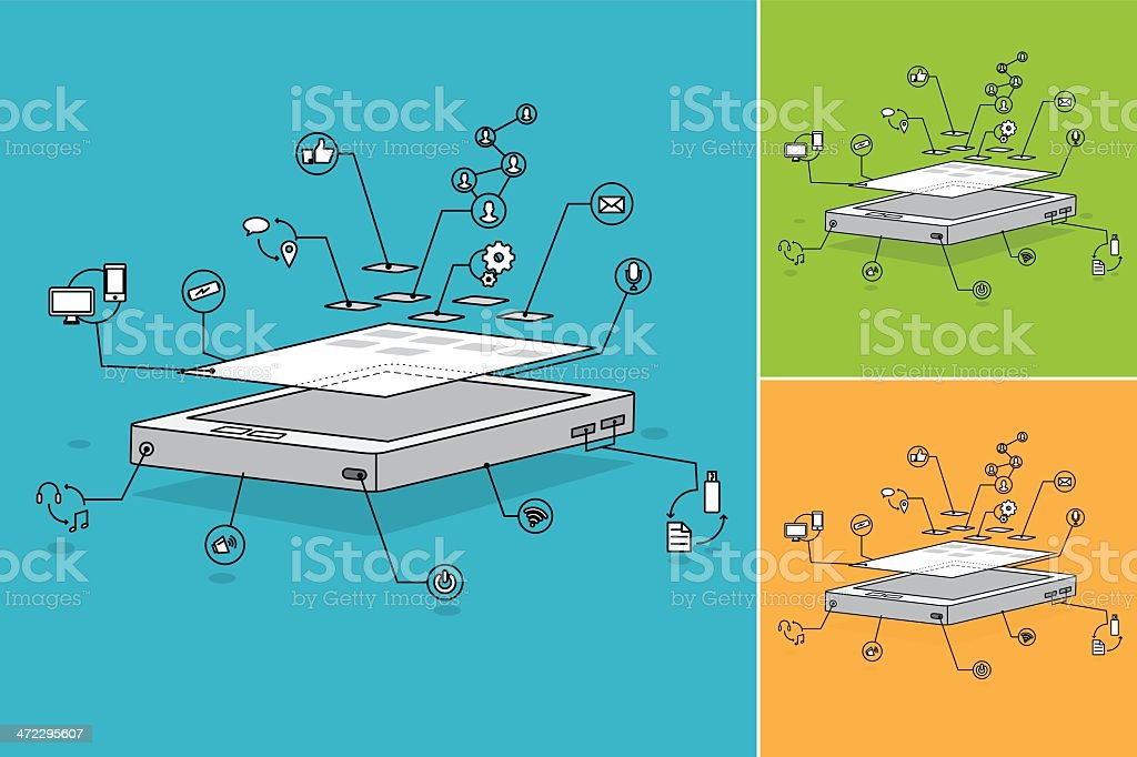 Lineart smartphone disassembled illustration royalty-free stock vector art