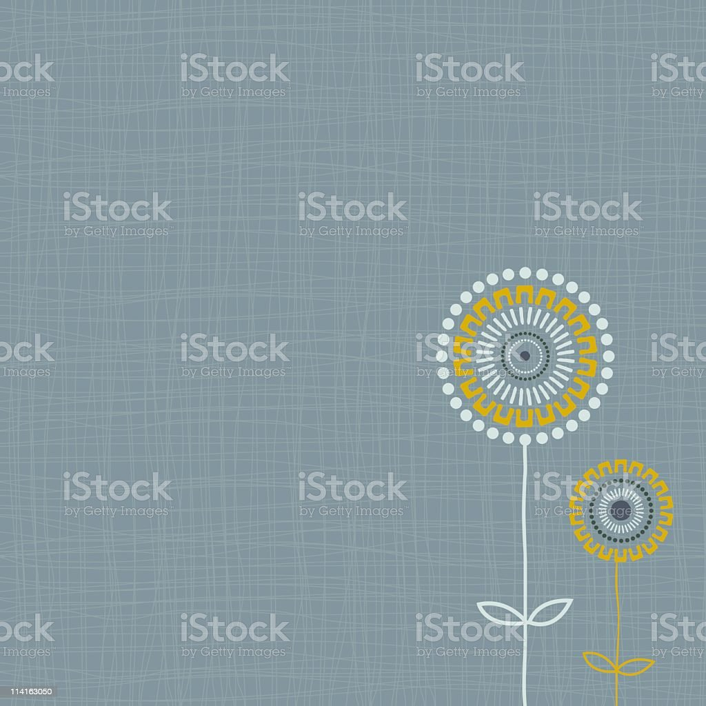 A lined background with yellow and white flowers vector art illustration
