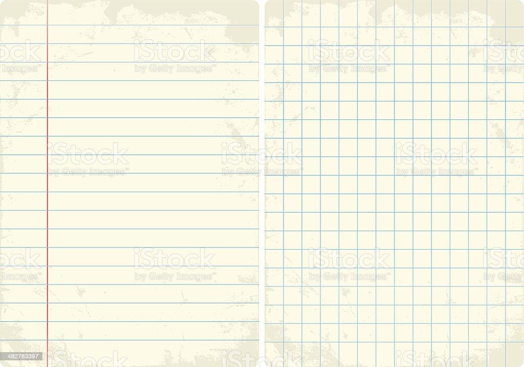 Lined & Graph vintage paper set. vector art illustration