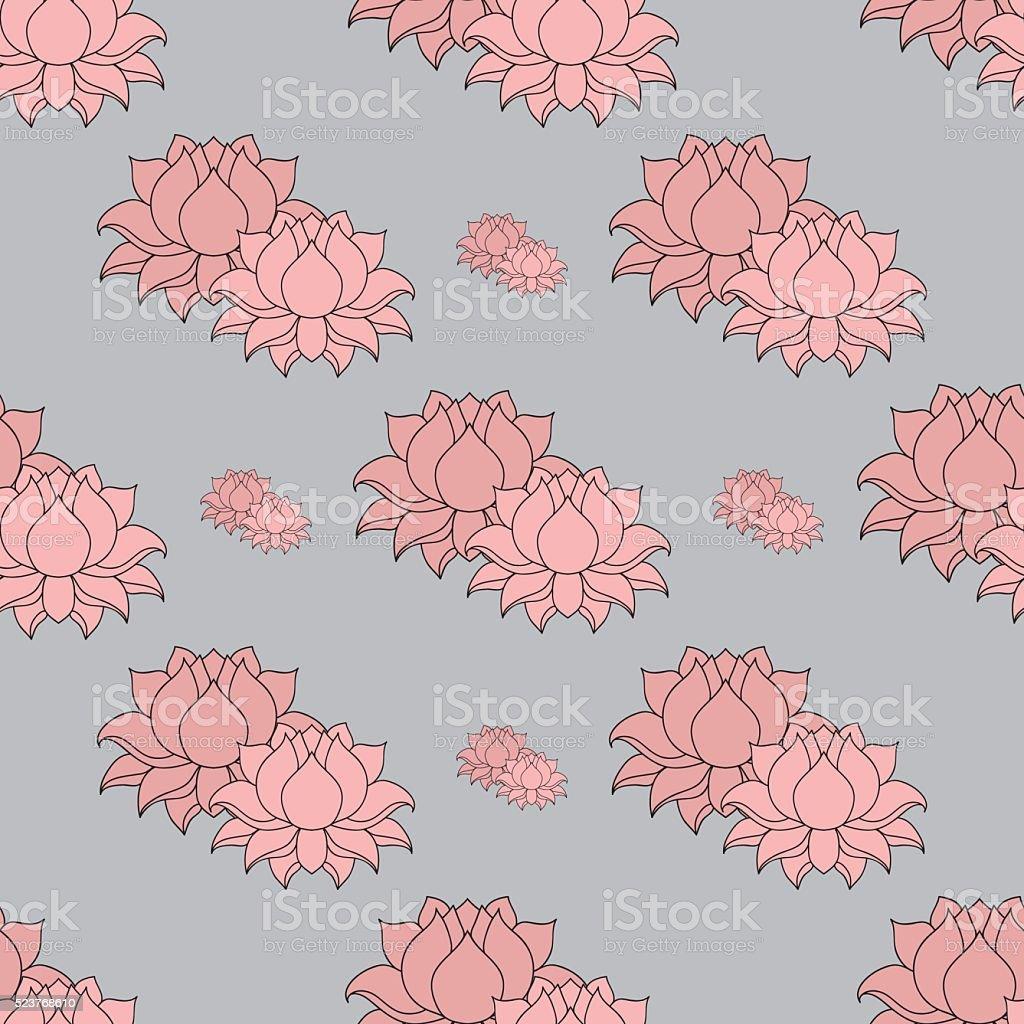 Lined lotus flower indian hindu motifs seamless pattern stock lined lotus flower indian hindu motifs seamless pattern royalty free stock vector dhlflorist Gallery