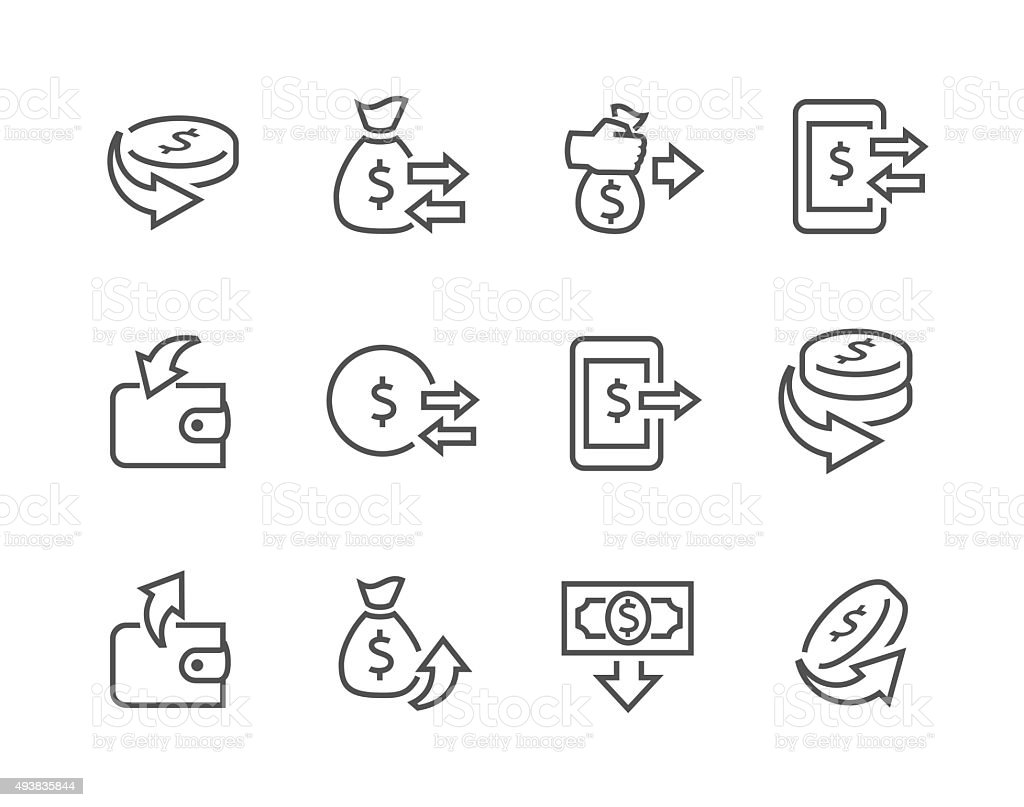 Lined Money Moving Icons vector art illustration