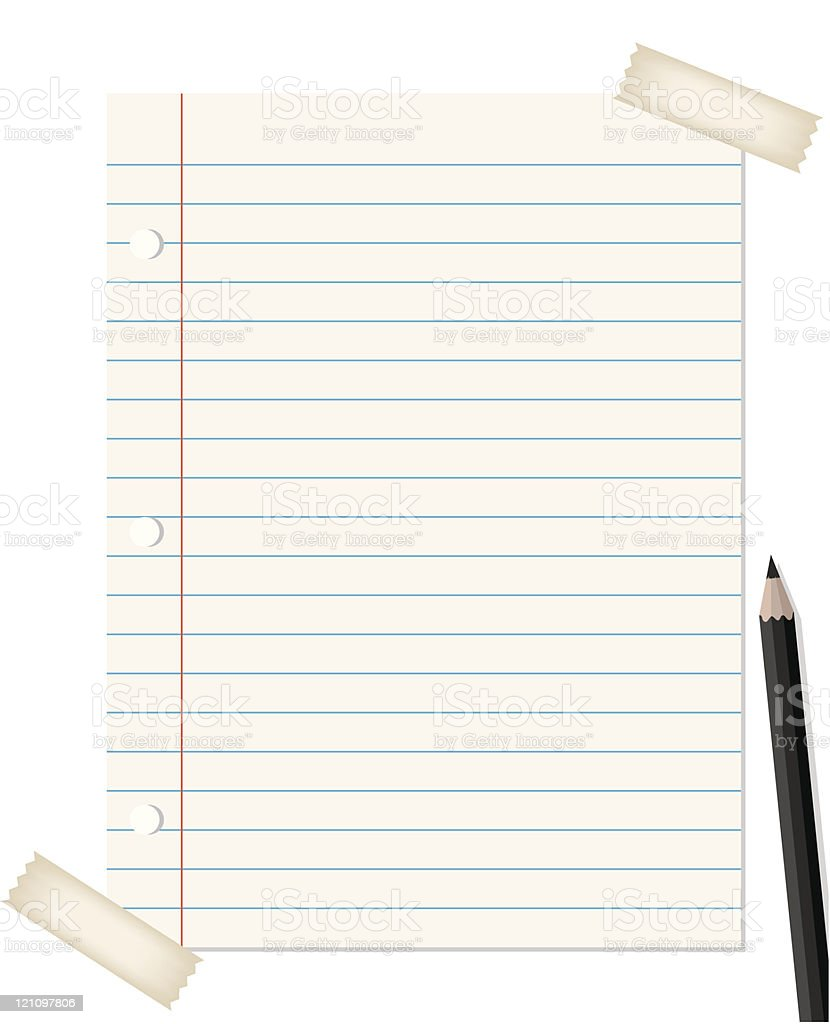 lined paper with pencil royalty-free stock vector art