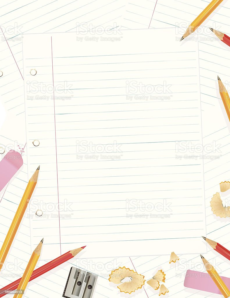 Lined Paper With pencils And Erasers vector art illustration