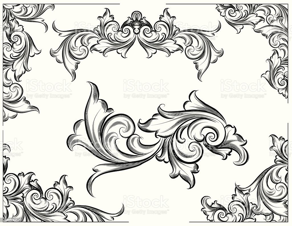 Lined Scroll Corners royalty-free stock vector art