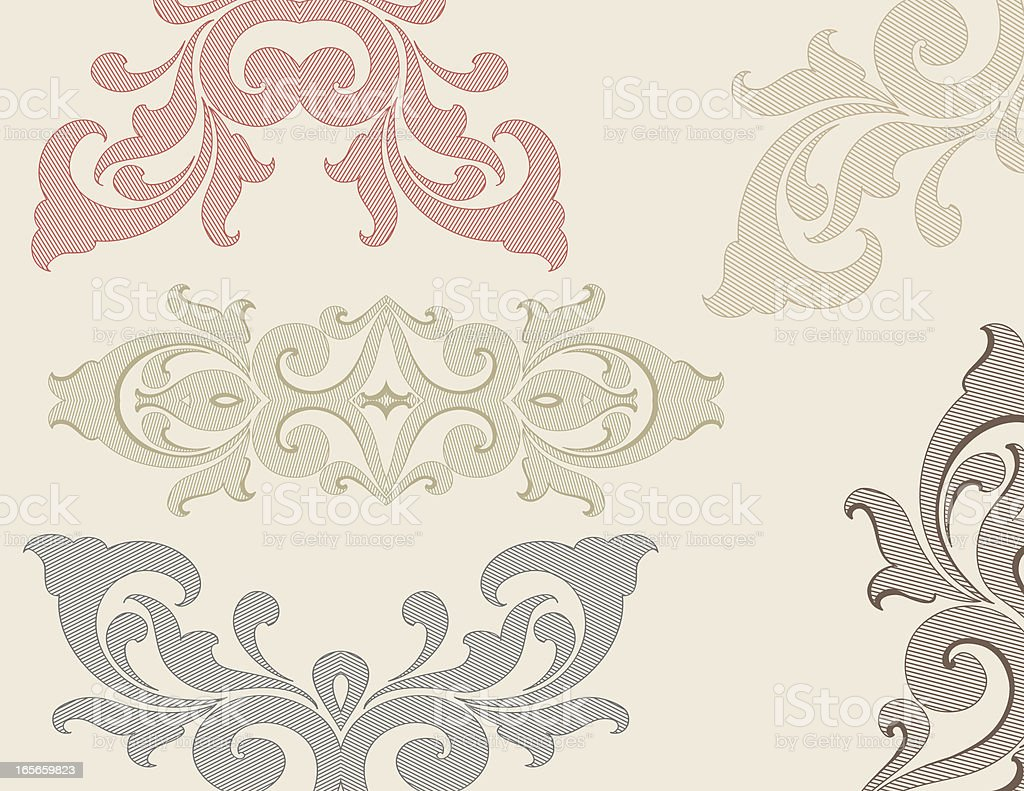 Lined Scroll Elements royalty-free stock vector art
