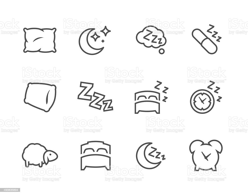 Lined Sleep Well Icons vector art illustration