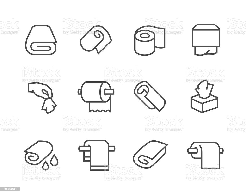 Lined Towels and Napkins Icons vector art illustration
