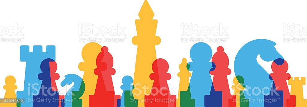Lined up chess pieces vector art illustration